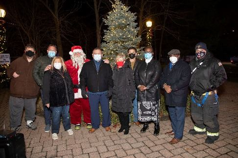 Elected Officials in front of tree